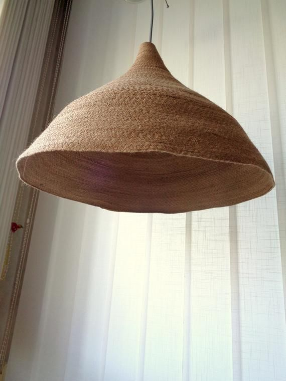 Large Pendant Light Burlap Pendant Light Rustic Lampshade