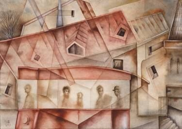 SOLD. In the City by Eugene Ivanov, watercolor on paper, 29 X 41 cm,  #eugeneivanov #@eugene_1_ivanov #modern #original #oil #watercolor #painting #sale #art_for_sale #original_art_for_sale #modern_art_for_sale #canvas_art_for_sale #art_for_sale_artworks #art_for_sale_water_colors #art_for_sale_artist #art_for_sale_eugene_ivanov