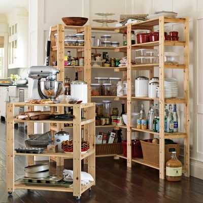 Swedish Wood Shelving-Utility Cart with Wheels #williamssonoma