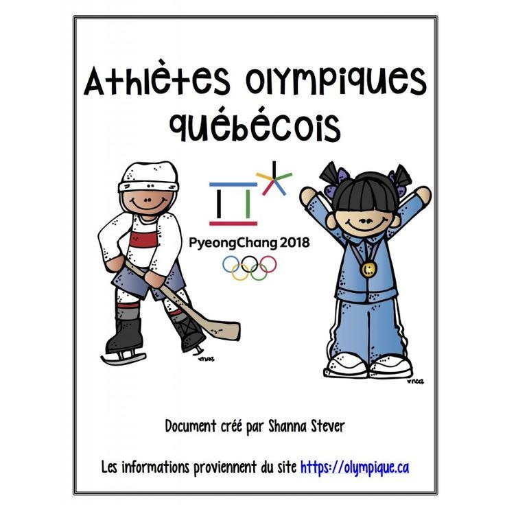 Ce document contient la majorité des athlètes qui représenteront le Québec aux prochains Olympiques avec leur ville d'origine, leur sport et une petite biographie. Une petite liste d'activités est incluse pour vous permettre d'utiliser les fiches en cla