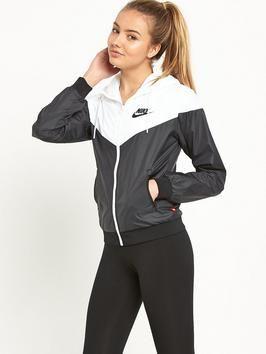 Windbreaker jacket nike womens black and white