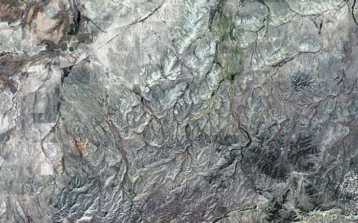 On the upper-right side of the image, we can see a cluster of hills of the Sierra Madera crater, formed less than 100 million years ago when a meteorite hit Earth.- 2017 - 01 - Western Texas