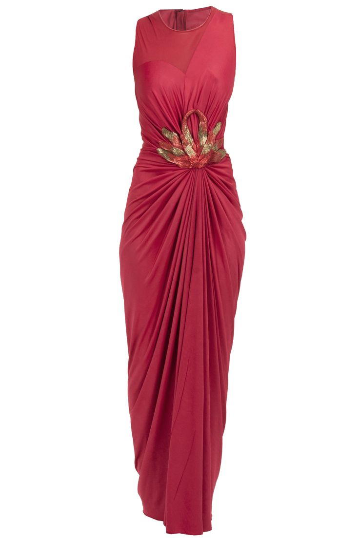 Cherry octopus patch long draped dress BY AMIT AGGARWAL. Shop now at perniaspopupshop.com #perniaspopupshop #clothes #womensfashion #love #indiandesigner #amitaggarwal #happyshopping #sexy #chic #fabulous #PerniasPopUpShop #ethnic #indian