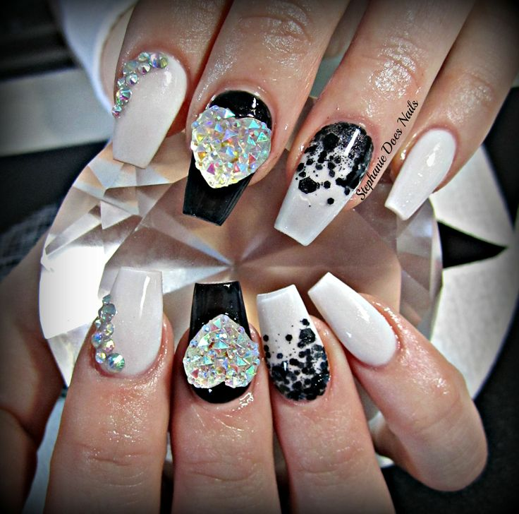 black and white coffin acrylic nails nails pinterest