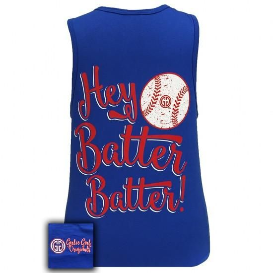 Girlie Girl Originals Hey Batter Batter Baseball Tank Top
