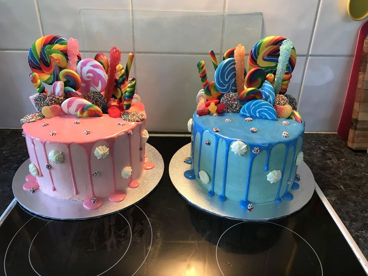 Boy Girl Lolly Drizzle Cake - candy drip cake