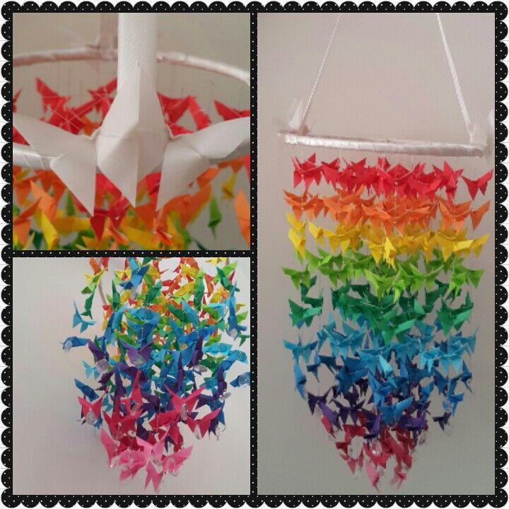 Origami com borboletas multicoloridas!!