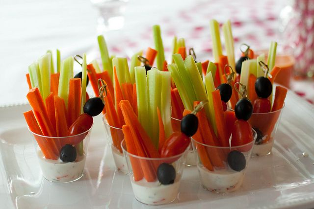 Veggies with ranch cups (I love the olives and tomato kabob!).  Make healthy ranch using greek yogurt.