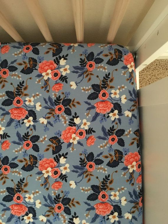 Rifle Co. Floral fitted crib sheet, lavender & coral flowers, baby girl Bedding, baby sheet, baby bed set, baby girl nursery, floral theme