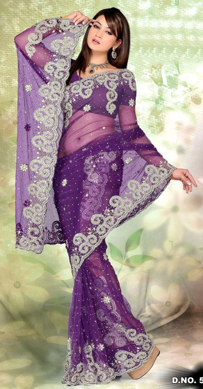 Bangni Color Net Designer Hand Work Saree TN561-2. Sale : $337.25