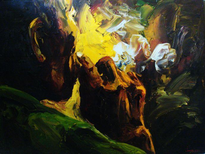 Smoker, Acrylic on canvas, 100cm x 90cm, Artist : Aliyas