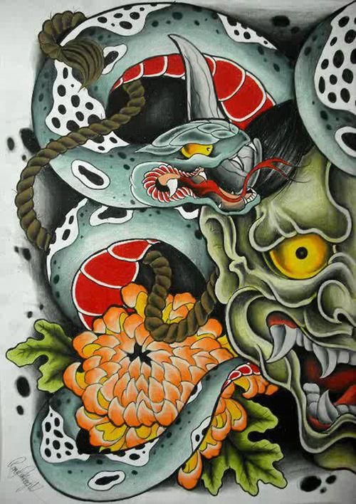 snake tattoo japanese | Tumblr