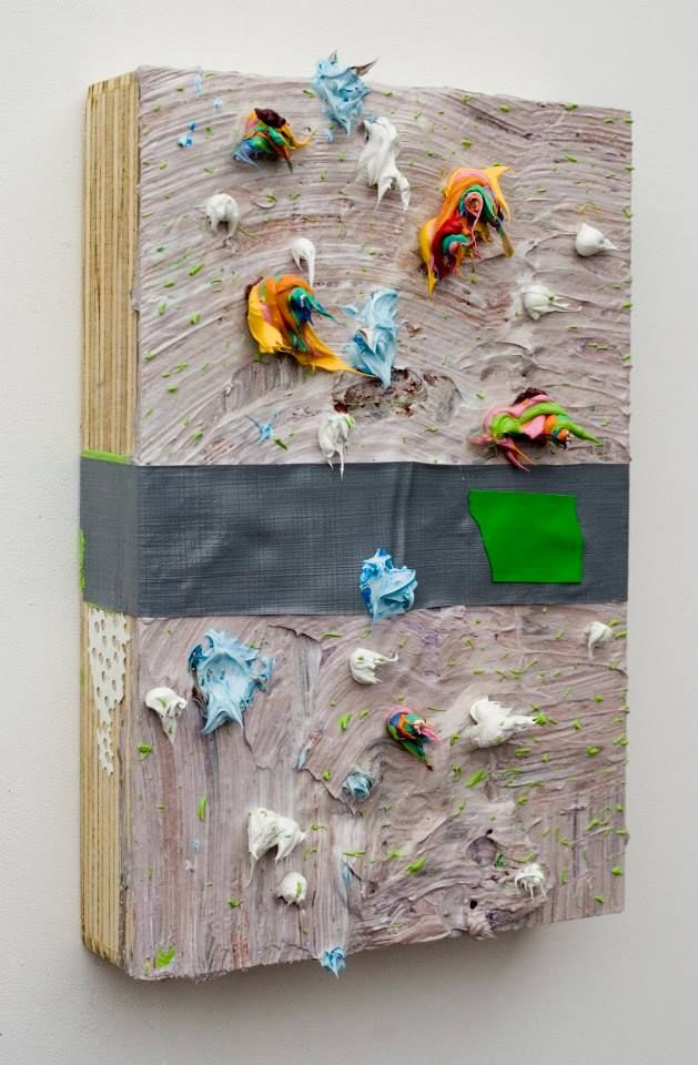 """My Words in Your Mouth,  Acrylic paint on wood panel 10 x 7 x 2"""", 2013"""