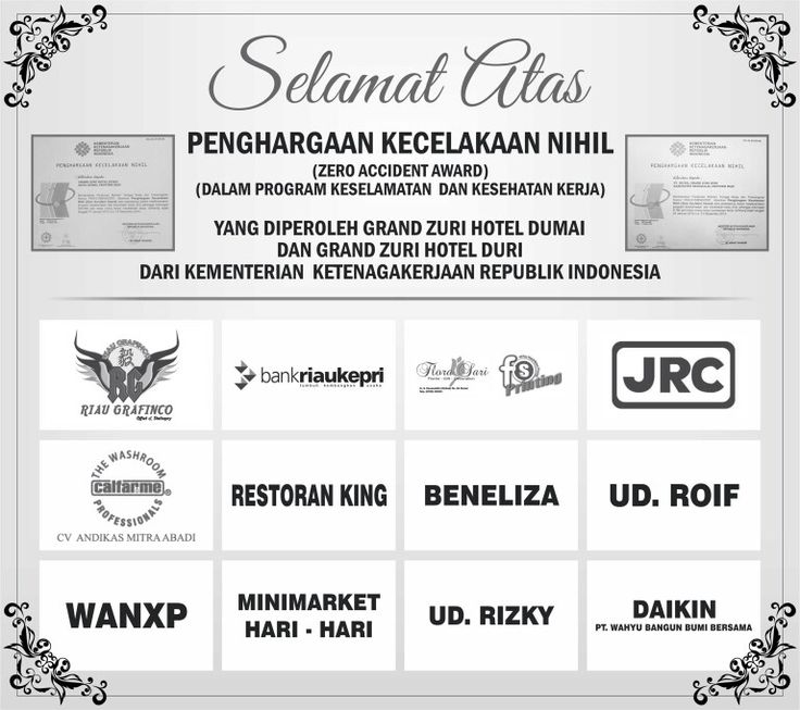 Zero Accident Award From Kementrian Ketenaga Kerjaan Republik Indonesia