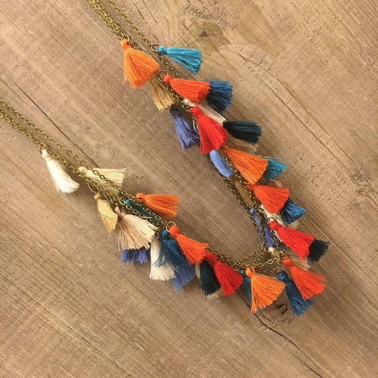 #duepuntihandmade #handmadewithlove #handmade #handmadejewelry #necklace #tassel #cotton #charms #chain #summer #waitingsummer #colors #orange #blue #beige #red #gipsystyle #diy #doityourself