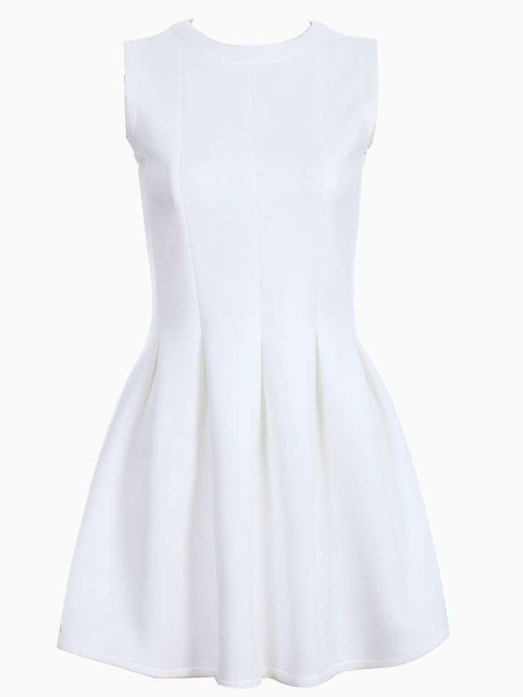 Pleated Skater Vest Dress in White | Choies