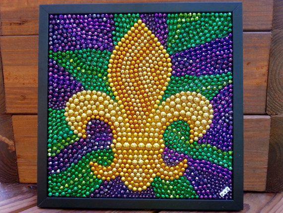 Mardi Gras bead mosaic fleur de lis purple green by BayoulandBeads