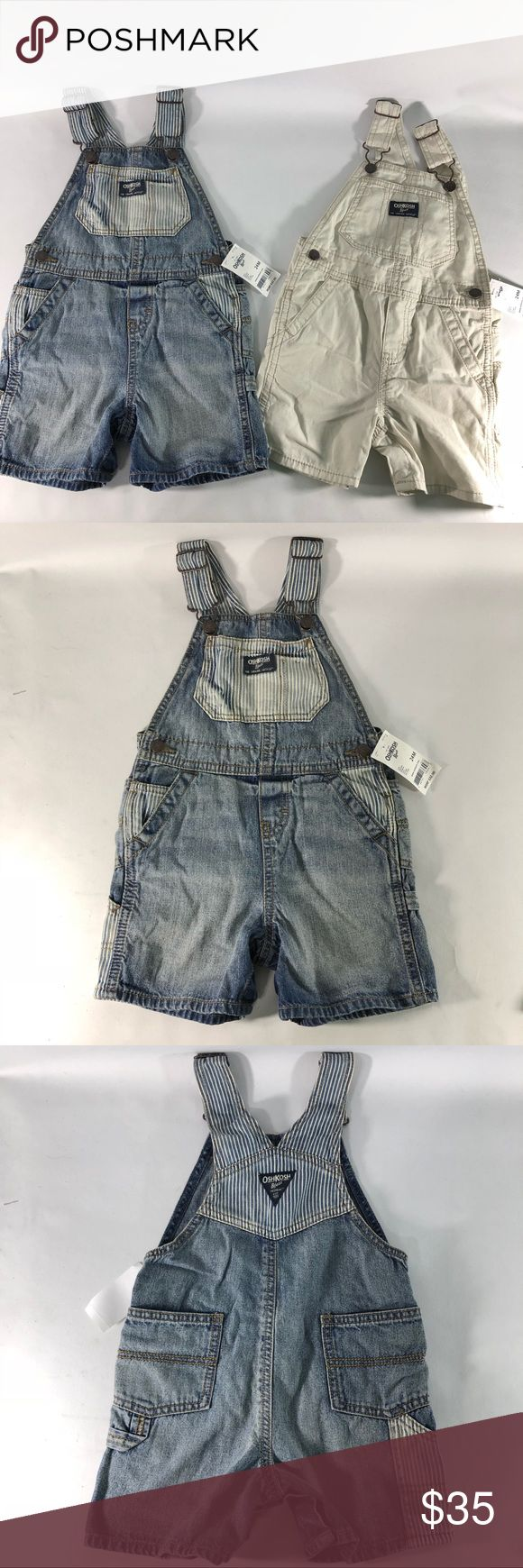 Boys Oshkosh Bib Overall Shorts Details: Brand: Oshkosh  Tag size 24 Months  -denim blue and white stripped. -white denim.   Inventory number: j13 OshKosh B'gosh Bottoms Overalls