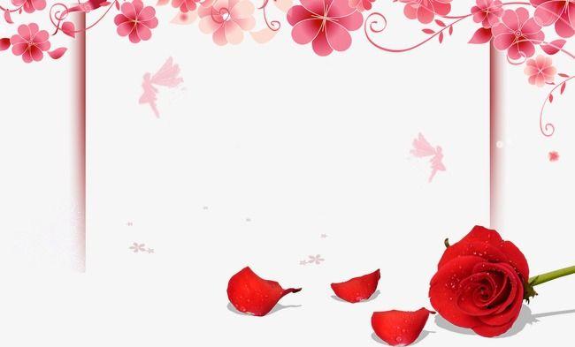 الزهور الرومانسية حافة زهرة روز روز البتلة الزهور الوردية بنات اليوم إطار الملصق Tapestry Background Material