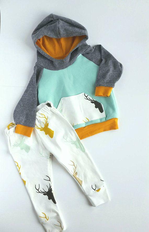 Baby boy hoodie and leggings set. Modern. Elk, deer, antlers. Size 0-3 months up to 18 months.