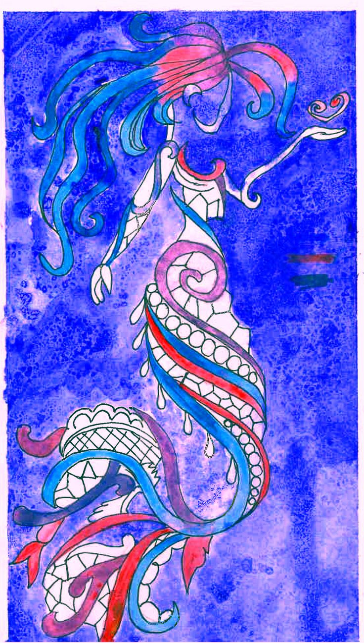 Watercolor mermaid painting i made also used a black pen around the painting.