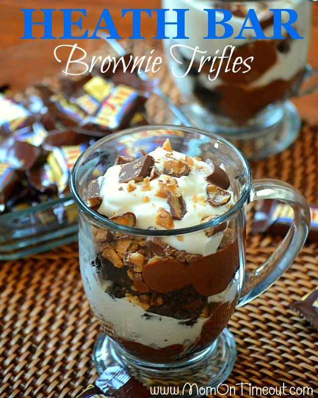 Heath candy bar brownie triffles