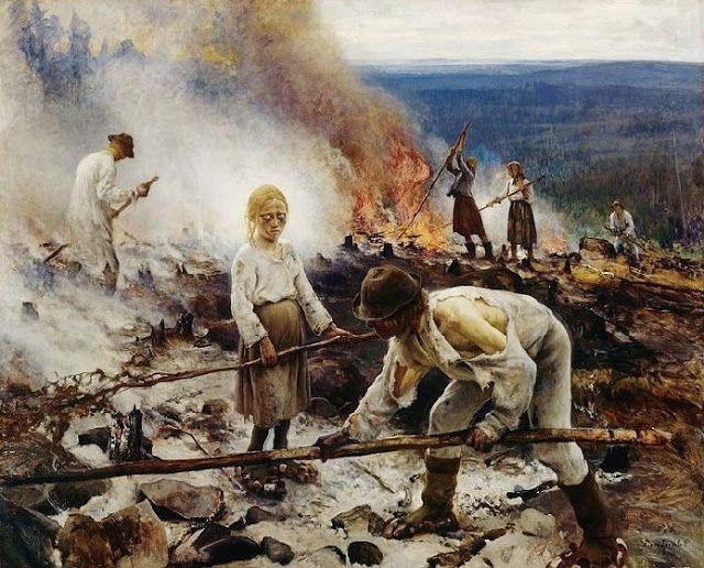 Eero Järnefelt, Under the Yoke (Burning the Brushwood ; Wage Slaves/Burn-Beating Wage Slaves) 1893 depicting slash-and-burn agriculture - Kaski (Raatajat rahanalaiset)