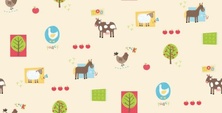Animals (DL30720) - Albany Wallpapers - A fun kids wallcovering with styilized animal drawing including horses, ducks, sheep and cows. Showing in fresh bright colours against a cream background. A paler colour way is available. Please ask for a sample for true colour match.