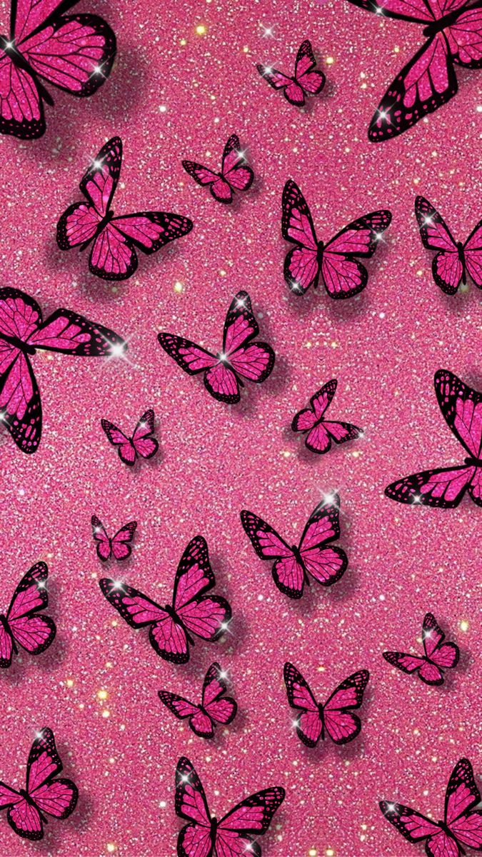 Pink Glitter Butterfly Background in 2020 | Butterfly ...