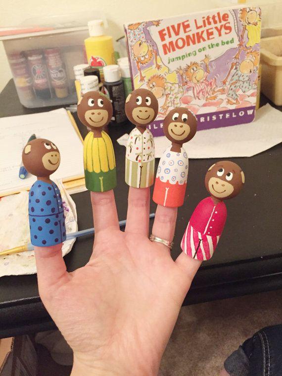 SALE  RTS Five Little Monkeys set of 5 wooden finger puppets