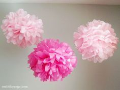 As promised here is the step by step tutorial for how to make tissue paper pom poms, also known as tissue paper balls, or tissue paper poofs. These are surprisingly quick to put together and add an easy burst of colour to any room or party! You can get tissue
