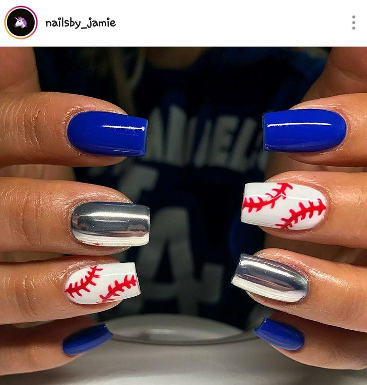 Square Nails. Blue Nails. Chrome Nails. Baseball Nails. Dodgers Nails. Acrylic Nails. Gel Nails. LA Dodgers Nails.