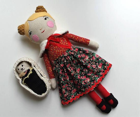Heirloom Girl Doll with Kitten in Moses Basket Rag Doll named