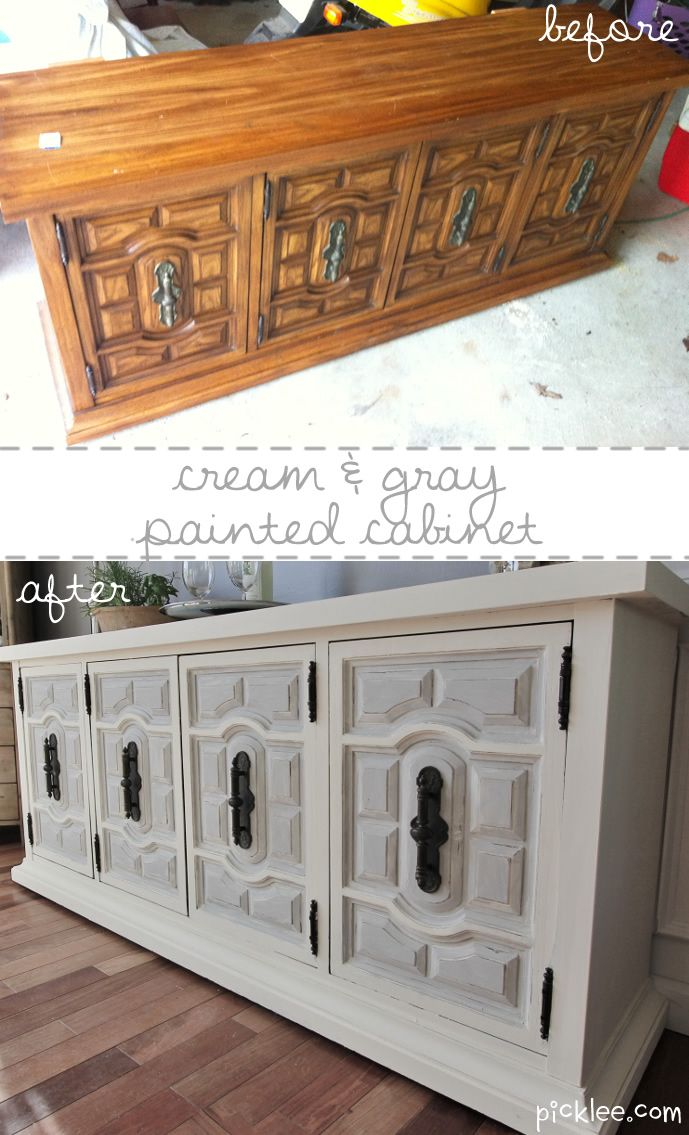 white and gray painted cabinet before and after...for living room furniture??  Great job turning something old into something new!: