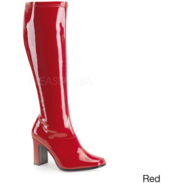 Funtasma Kiki Women's 3.25-inch Chunky Heel Knee High Gogo Boots ($57) ❤ liked on Polyvore featuring shoes, boots, knee-high boots, red, slouchy knee high boots, red knee boots, platform boots, lined boots and red slouch boots