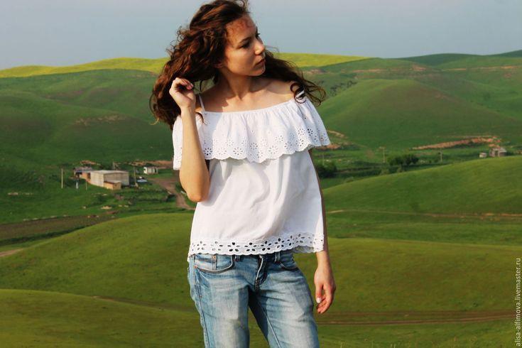 """Купить """"Асилия"""" Летняя блуза-топ, хлопок ришелье - белый, однотонный, блуза белая"""