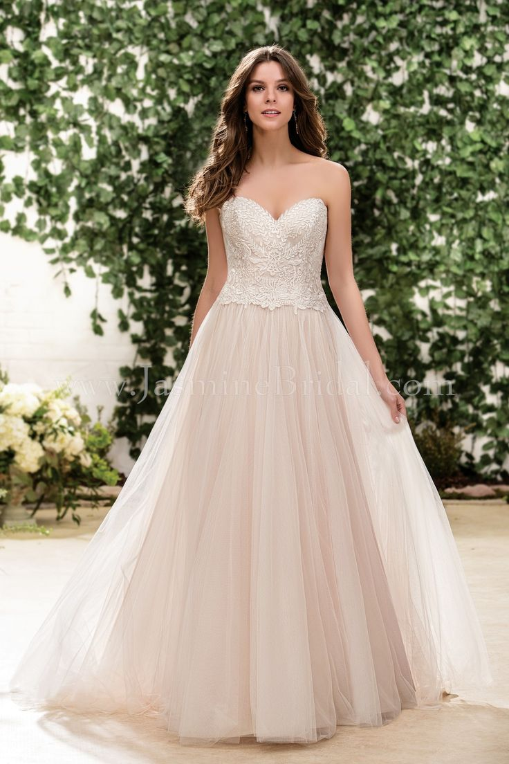 Jasmine Bridal Collection Style F181056 *Available at http://www.tie-the-knot-bridal.com/ Green Bay, WI.  Call us at 920-662-1920 to schedule an appointment.