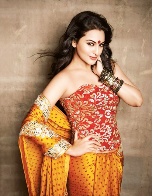 Sonakshi in a unique sari.