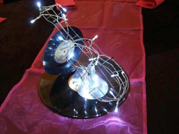 Wire musical instruments with fairy lights and original vinyl LP records  www.iceevents.co.za