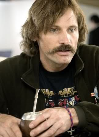 Viggo Mortensen drinks his Yerba Mate