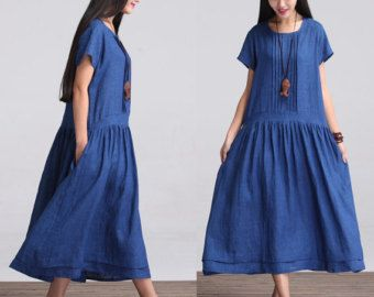 Loose Fitting Long Maxi Dress  Summer Dress in Orange by deboy2000