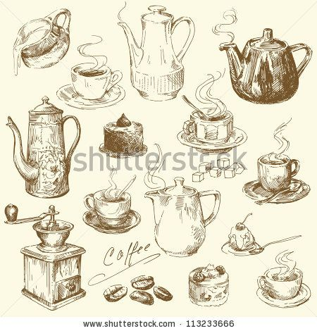coffee collection - hand drawn illustration by Canicula, via ShutterStock