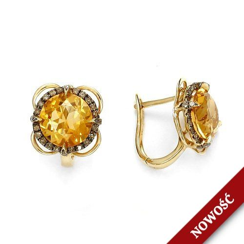 Chocolate diamond and citrine in gold earrings ;)