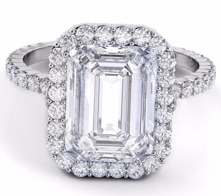 15.00 CTW Emerald Cut GIA Certified Halo Diamond Engagement Platinum 950 Ring #DiamondsByElizabeth #SolitairewithAccents