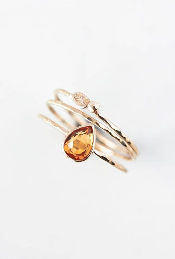 580dce131f Pear rose cut citrine and 14k gold ring, November birthstone ...