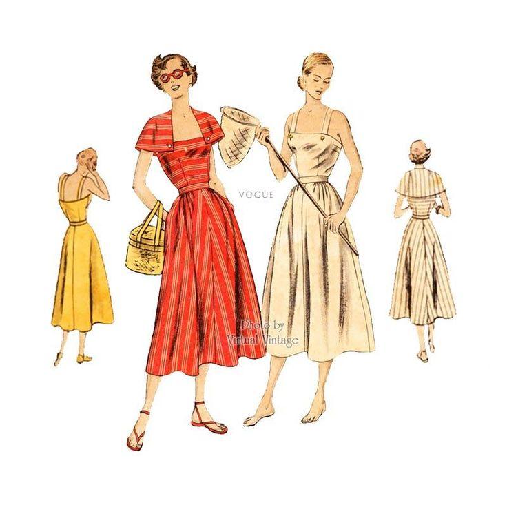 1940s Sun Dress Pattern Vogue 6446, Sundress with Shoulder Straps, Full Skirt, & Cape, Bust 34 Uncut