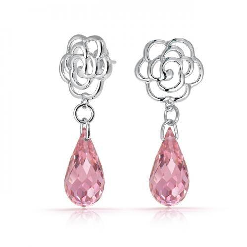 Bling Jewelry Rose Flower Earrings Pink Topaz Color Briolette Glass Silver Tone