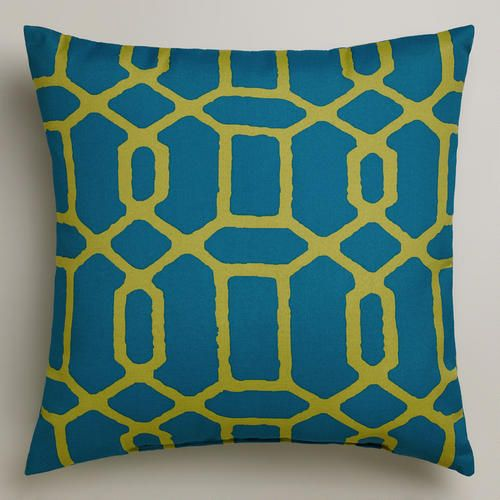 One of my favorite discoveries at WorldMarket.com: Blue and Green Gate Outdoor Throw Pillow