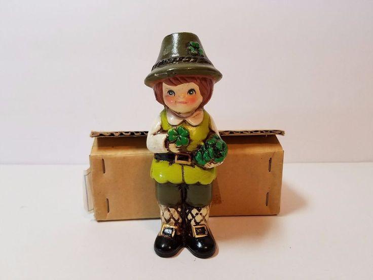 "Vtg St. Patrick's Patty Day Napco Figurine Figure Green Shamrock Leprechaun 6"""