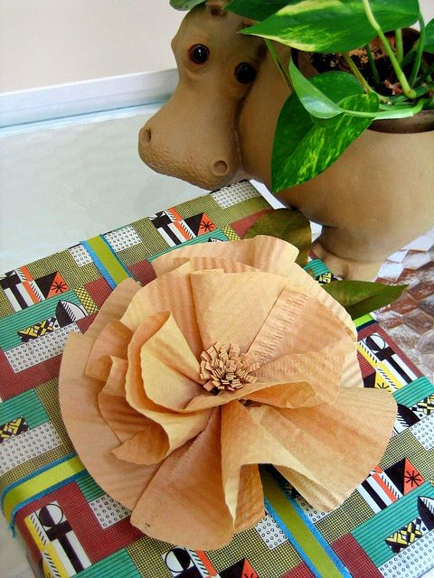 Coffee Filter Flower Gift Topper by all things paper, via Flickr